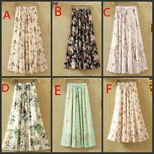 Chiffon Elastic Waist Long Floral Print Dress New Womens Beach Maxi Skirt One Sz