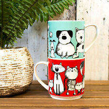 Novelty Cat & Dog Stackable Fine China Mugs Cups Coffee Latte Cappuccino Tumbler