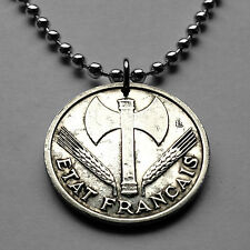France franc coin pendant Vichy French State German Nazi occupation WWII n001850