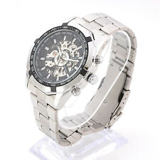Stainless Steel Dial Automatic Mechanical Skeleton Movement Winding Wrist Watch