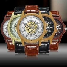 Wooden Case Mechanical Watch Mens Automatic Sport Wrist Leather Sport Watch Gift