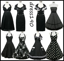 dress190 Black 50s Rockabilly Cocktail Pinup Evening Party Prom Ball Dress 8-26