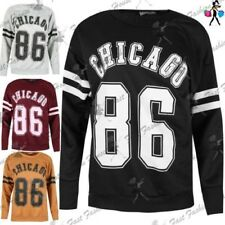 Ladies Womens Chicago 86 Sports Stripes Sweater Baggy Jumper Sweatshirt UK 8-14