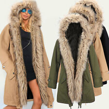 Ladies Womens Winter Long Warm Thick Parka Faux Fur Jacket Hooded Coat Plus Size