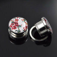 ON SALE! Stainless Steel Flower Ear Tunnels Plugs Earlets Body Piercing Jewelry