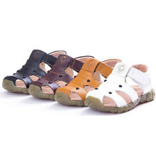 New Kids Summer Shoes Hook & Loop Closed Toe Toddler Sandals PU Leather Shoes G
