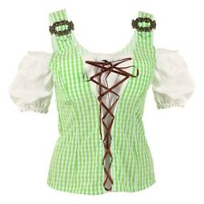 Womens Green Oktoberfest Lace-Up Trachten Blouse Shirt Costume Party Outfit
