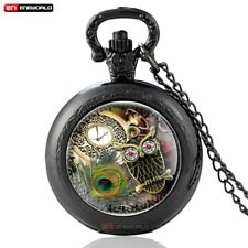 Vintage Quartz Steampunk Pocket Watch Owl Antique Pendant Mens Gift Chain Retro