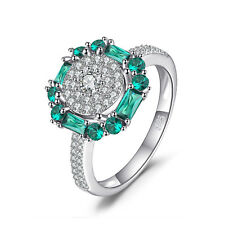 JewelryPalace 0.6ct Created Nano Russian Emerald  Ring 925 Sterling Silver