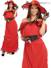 Ladies Scarlett O' Hara Costume Victorian Gone With The Wind Fancy Dress Outfit