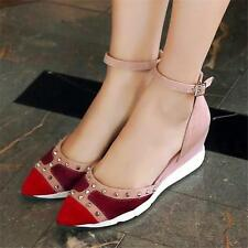Chic Womens Rivets Ankle Strap Shoes Suede Leather Sneakers Wedge Ankle Boots @@