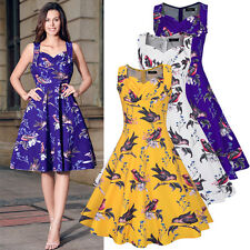 Women's Bandeau Vintage Style 1950's Retro Flared Skater Party Swing Dress 8-20