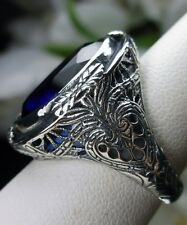 18ct*Blue Sapphire* Sterling Silver Victorian Filigree Ring Size {Made To Order}