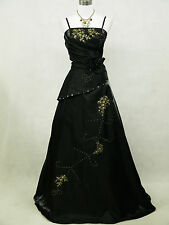 Cherlone Black Long Satin Sequins Prom Ball Gown Party Wedding Evening Dress