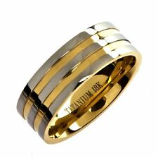 Titanium 18k Gold Plated Wedding Ring Band Comfort Fit 8mm Wide