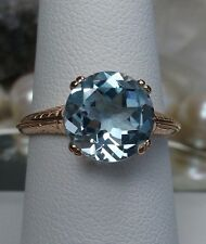 3.7ct Blue Topaz Solid 10k Rose Gold Art Deco Filigree Ring Size {Made To Order}