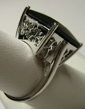 12ct Square *Garnet* Solid Sterling Silver Filigree Ring Size {Made To Order}