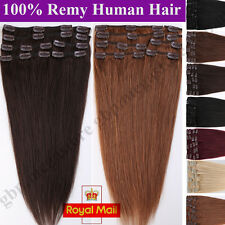 Real Human Hair Full Head Clip in Remy Hair Extensions 8 PICS Straight Long A246