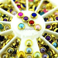 New Pro 5mm/4mm Colorful Mixed Alloy Nail Art Artificial Pearl Decorations 35DI