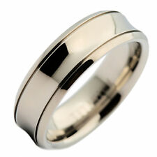 7mm Titanium Concaved Center Grooved Edge Wedding Ring  Band