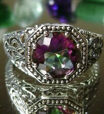 3ct *Mystic Topaz* Solid Sterling Silver Victorian Filigree Ring Size Any/MTO