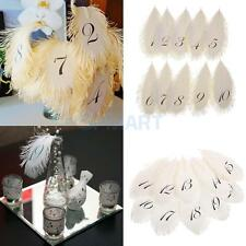 1-10 Table Numbers Place Cards Feather Flower Arrangement Wedding Table Decor