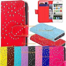 Diamond Leather Glitter Wallet Flip Holder Case Cover For Samsung & Apple iPhone