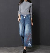 Chic Denim Wide leg pants Jeans Cropped Embroidery A-Line Womens Summer Pants Y@