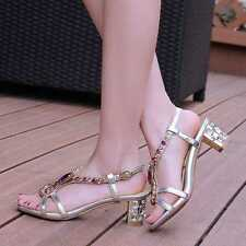 New Women's Prom Dressy Shoes Crystal Gold Silver Party Block Heel Shoes