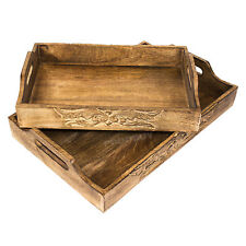 Carved Wooden Serving Decorative Tray Food Drink Home Decor TV Dinner Breakfast