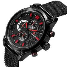Mens Chronograph Watch Analog Military Quartz Sport Black Stainless Steel Luxury