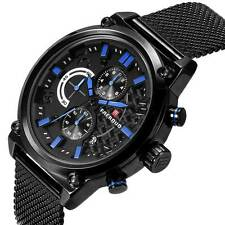 Mens Chronograph Analog Military Quartz Sport Watch Black Stainless Steel Wrist