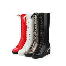 Fashion Womens Lace Up Wedge Heel Top Winter New Knee High Boots Shoes Sz
