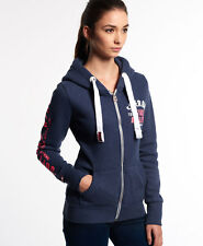 New Womens Superdry Track and Field Zip Hoodie Princeton Blue Marl