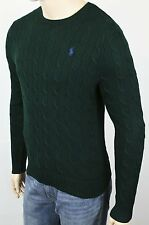 Polo Ralph Lauren Green Crewneck Cable-knit Sweater Blue Pony NWT