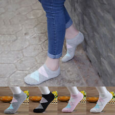 Women's 5Pairs Rhombus Printed Cotton Hosiery Low Cut Casual Sport Boat Socks