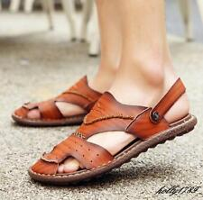 New Summer Mens Causal leather flat comfort beach slippers adjustable sandals Y@