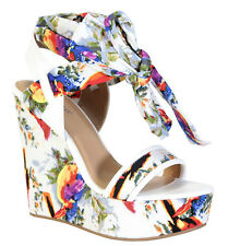 Bamboo Floral Tribal Wedge Lace up Open toe Platform Heel Women's shoes Charade