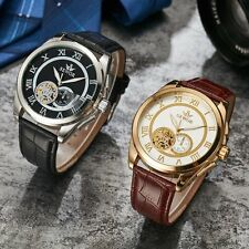 Tourbillo Watch Leather Steel Skeleton Automatic Mechanical Sport Wrist Military