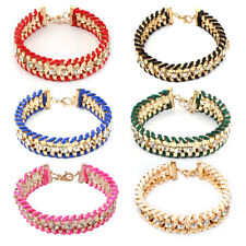 Women Metal Braided Decoration Adjustable Jewelry Bangle Bracelet Wrist Chain