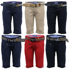 Boys Chino Belted Shorts Kids Knee Length Roll Up Zip Cotton Casual Summer New