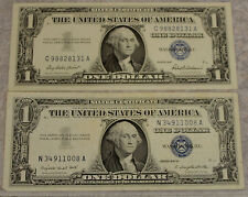 QTY 2 1957 STAR $1 ONE DOLLAR BILL BLUE SEAL NOTE PAPER MONEY SILVER CERTIFICATE