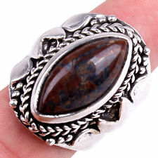 Handmade Genuine 925 Sterling Silver Brown Agate Gemstone Ring Size 8.75 M1066