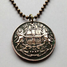 1858 British East India Company1/4 Anna coin pendant Indian lions Persia n001138