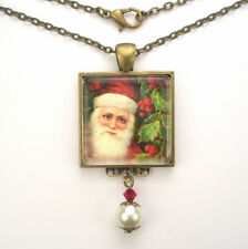 "CHRISTMAS SANTA CLAUS ""VINTAGE CHARM"" JEWELRY SILVER OR BRONZE PENDANT NECKLACE"