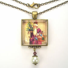 "CHRISTMAS PURPLE SANTA CLAUS ""VINTAGE CHARM"" BRONZE OR SILVER PENDANT NECKLACE"