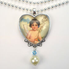 Cupid Heart Necklace Valentines Day Love Pendant Vintage Charm Graphic Art