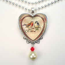 Pair of Birds Heart Necklace Vintage Charm Graphic Art Handmade Jewelry