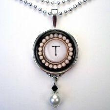 INITIAL LETTER T MONOGRAM VINTAGE CHARM SILVER OR BRONZE PEARL PENDANT NECKLACE