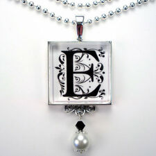 INITIAL LETTER E MONOGRAM VINTAGE CHARM SILVER OR BRONZE PEARL PENDANT NECKLACE